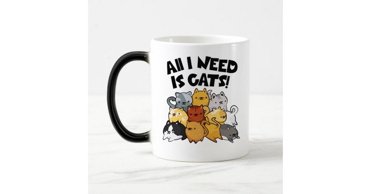 "Tazza freddo/caldo ""All I need is cats""!"